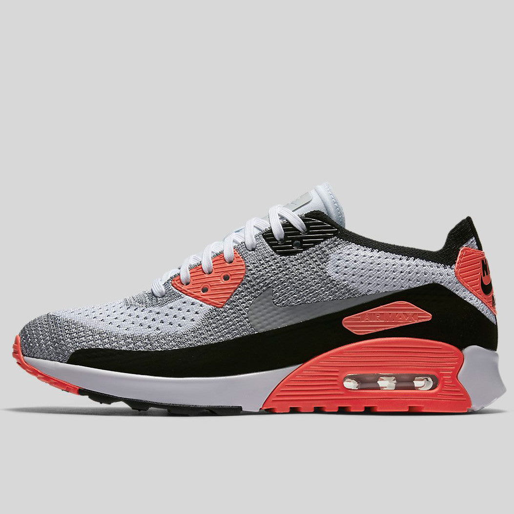 Nike Wmns Air Max 90 Ultra 2.0 Flyknit White Wolf Grey Bright Crimson  (881109-