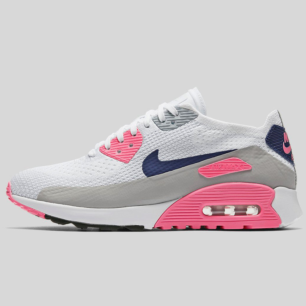 3f416933ef Nike Wmns Air Max 90 Ultra 2.0 Flyknit \White Concord Laser Pink Black  (881109