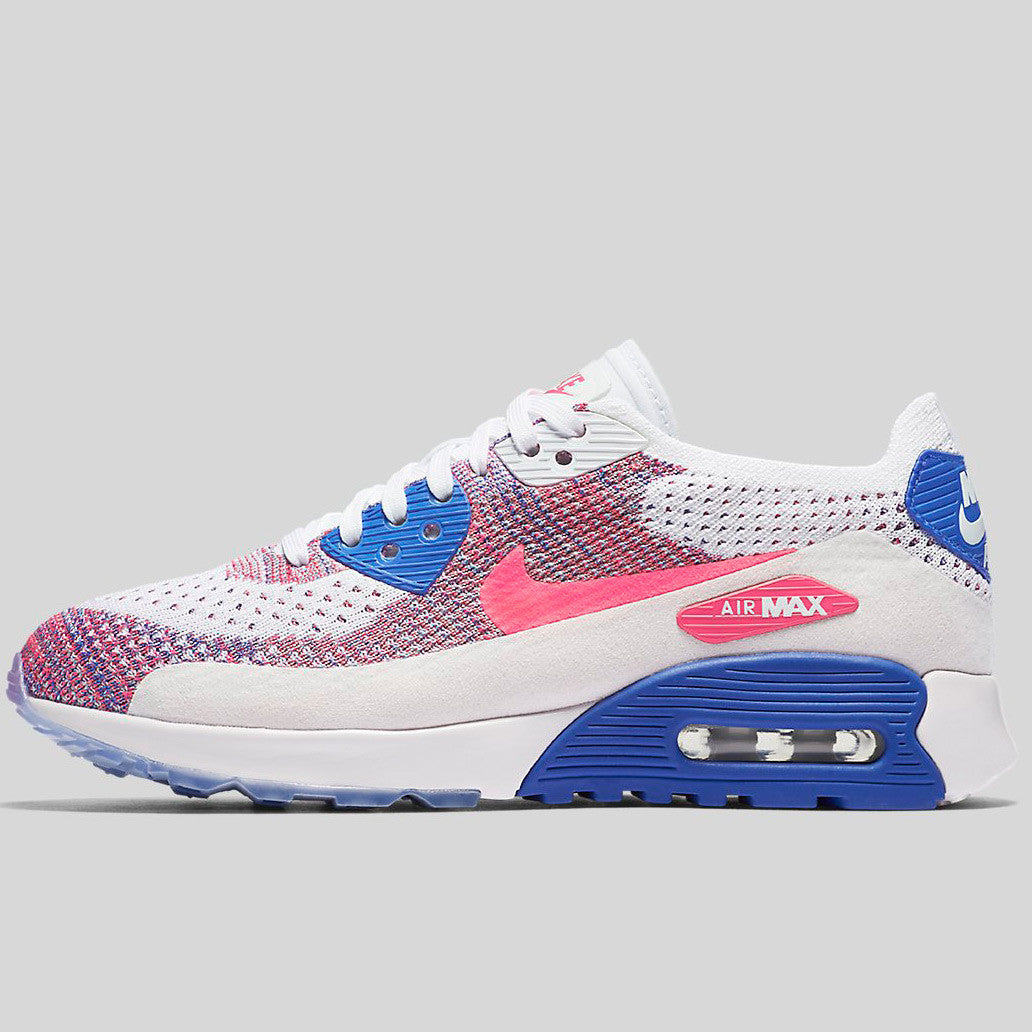 e8c7c92b572e Nike Wmns Air Max 90 Ultra 2.0 Flyknit White Racer Pink Medium Blue (881109-