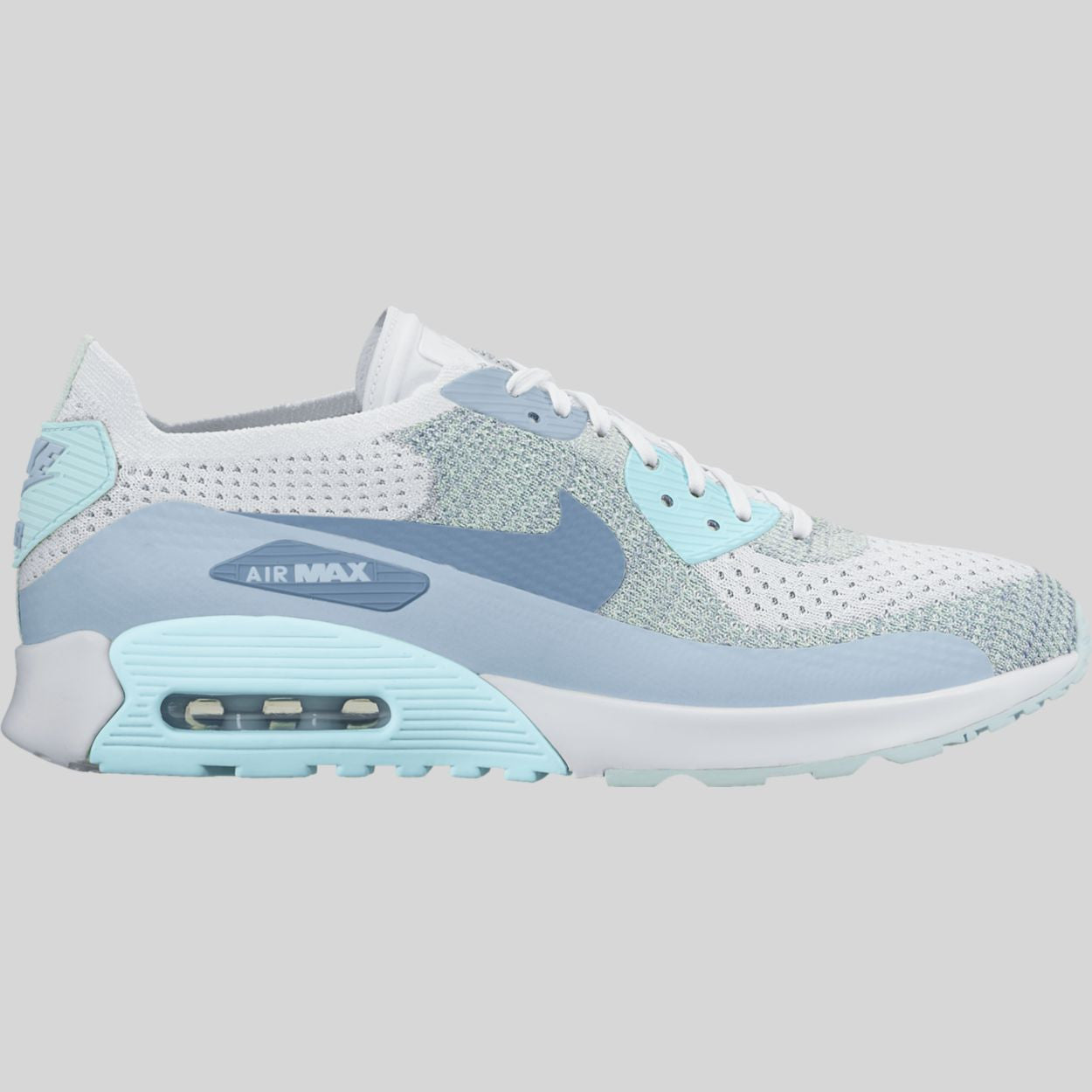 new arrival 7182d 4bcdf Nike Wmns Air Max 90 Ultra 2.0 Flyknit White Light Armory Blue