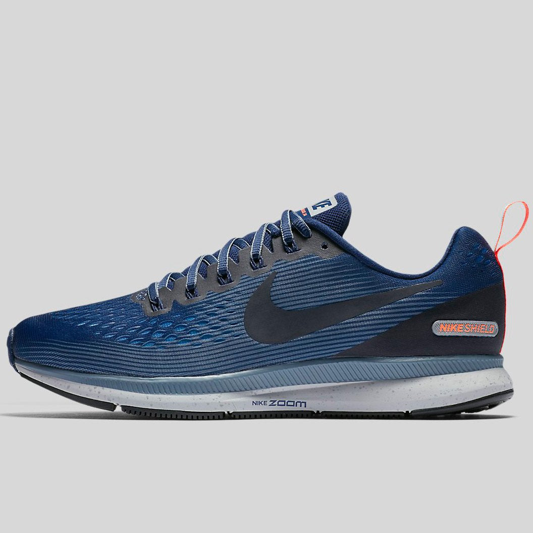 5ce087a8391e8 Nike AIR ZOOM PEGASUS 34 SHIELD Binary Blue Obsidian-Armory Blue (907327-400