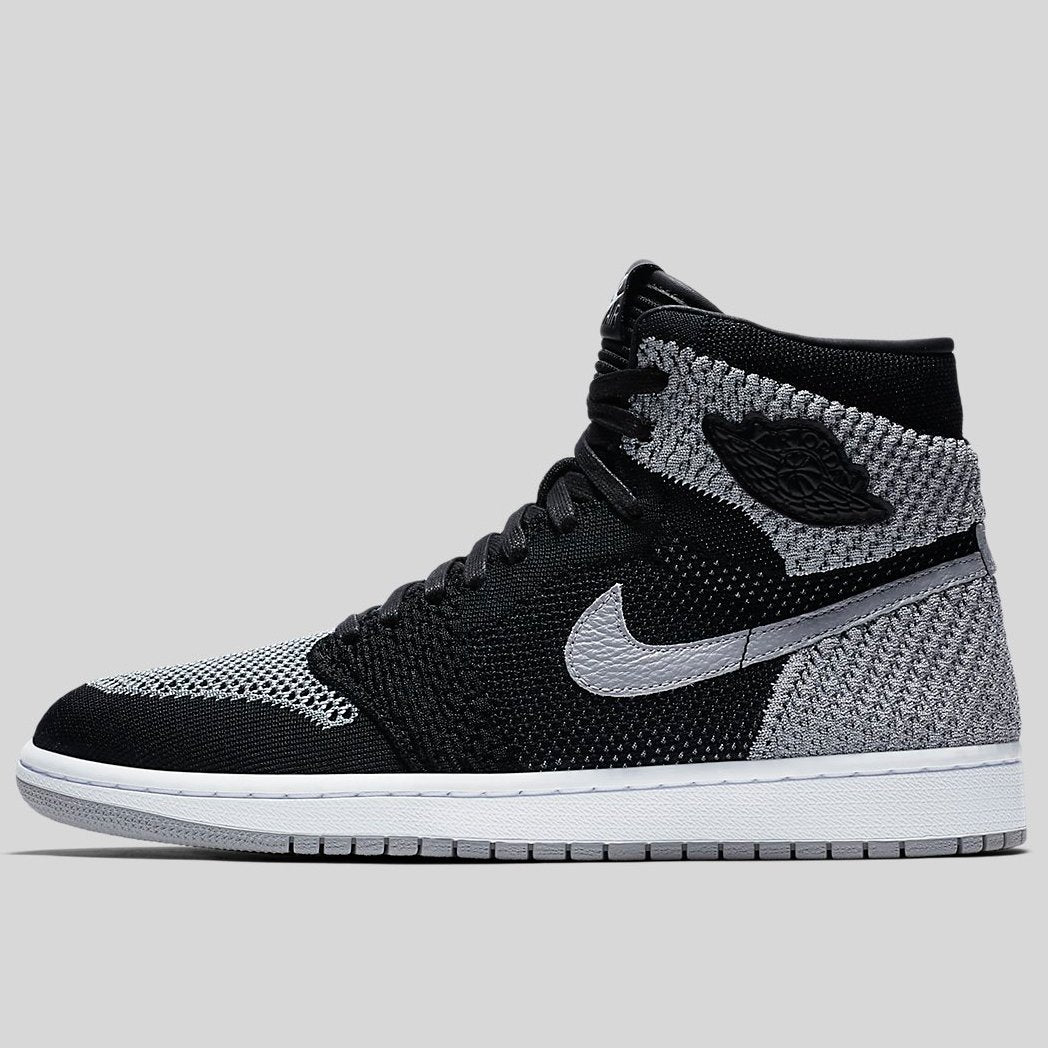 db505ee2b11 Nike AIR JORDAN 1 RETRO HI FLYKNIT Black Wolf Grey White (919704-003 ...