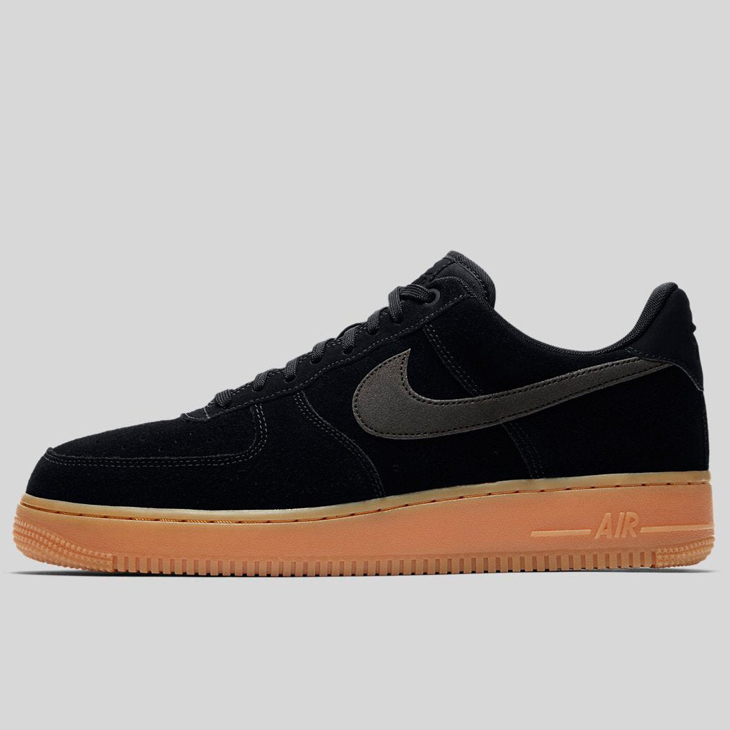 NIKE AIR FORCE 1 07 LV8 SUEDE BLACK--GUM MED BROWN SZ 13 [AA1117-001]