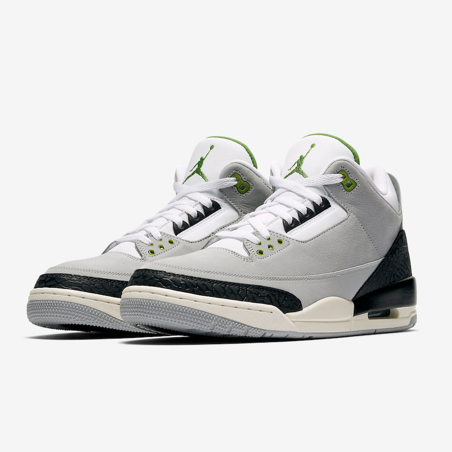 06f719eaa85 Nike GS AIR JORDAN 3 RETRO LT SMOKE GREY/CHLOROPHYLL-BLACK-WHITE (398614-006 )