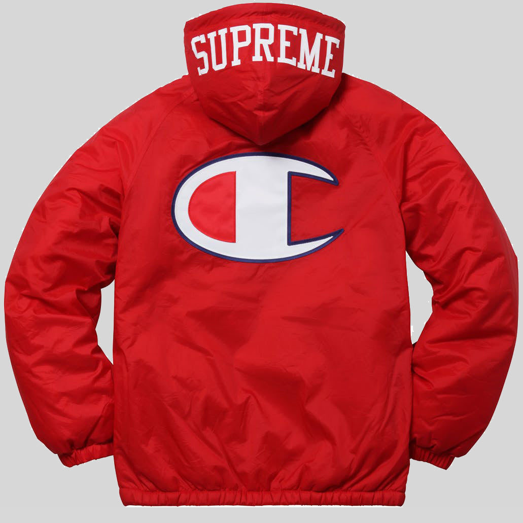 Supreme x Champion Sherpa Lined Hooded Jacket Red () | KIX ...