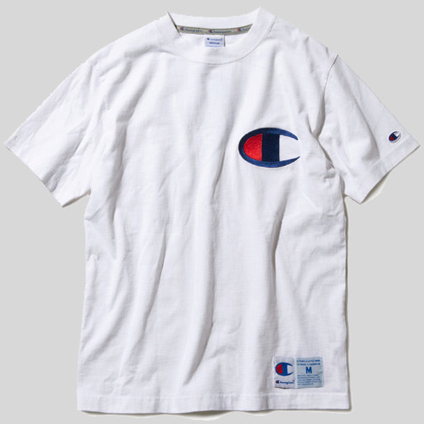 b9e6216fb Champion Japan Embroidered Big Logo Tee White (C3-F362-010)