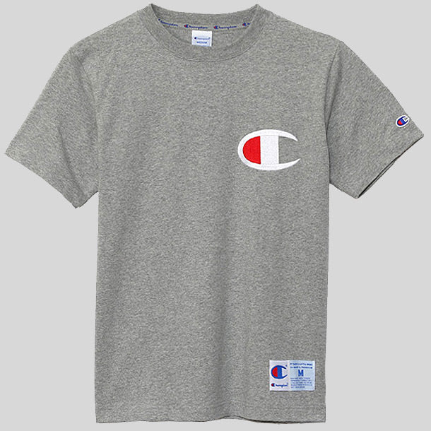 ff7e4aac2 Champion Japan Embroidered Big Logo Tee Grey (C3-F362-070)