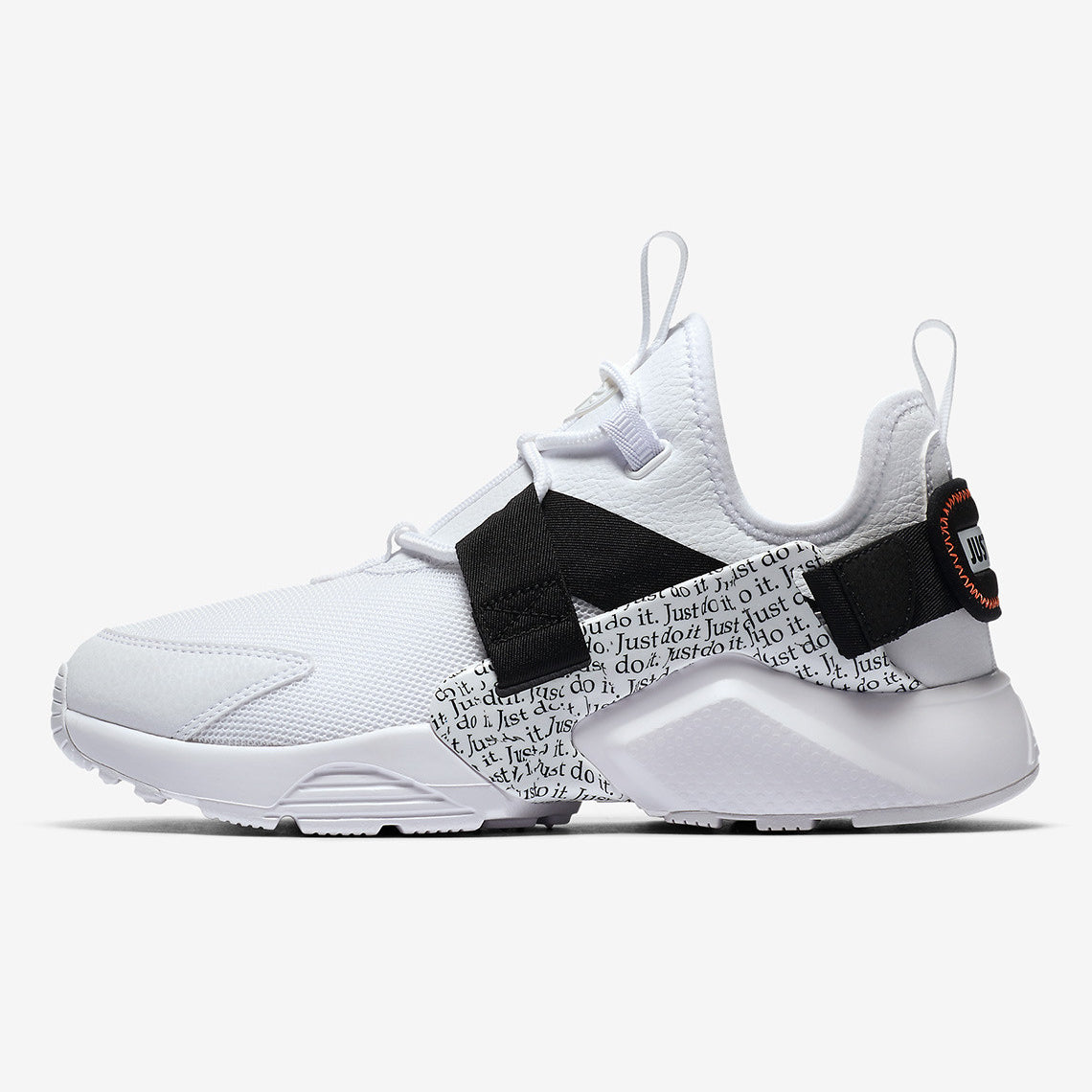 Nike Wmns AIR HUARACHE CITY LOW PRM Just Do It Pack WHITE/WHITE,BLACK,TOTAL  ORANGE