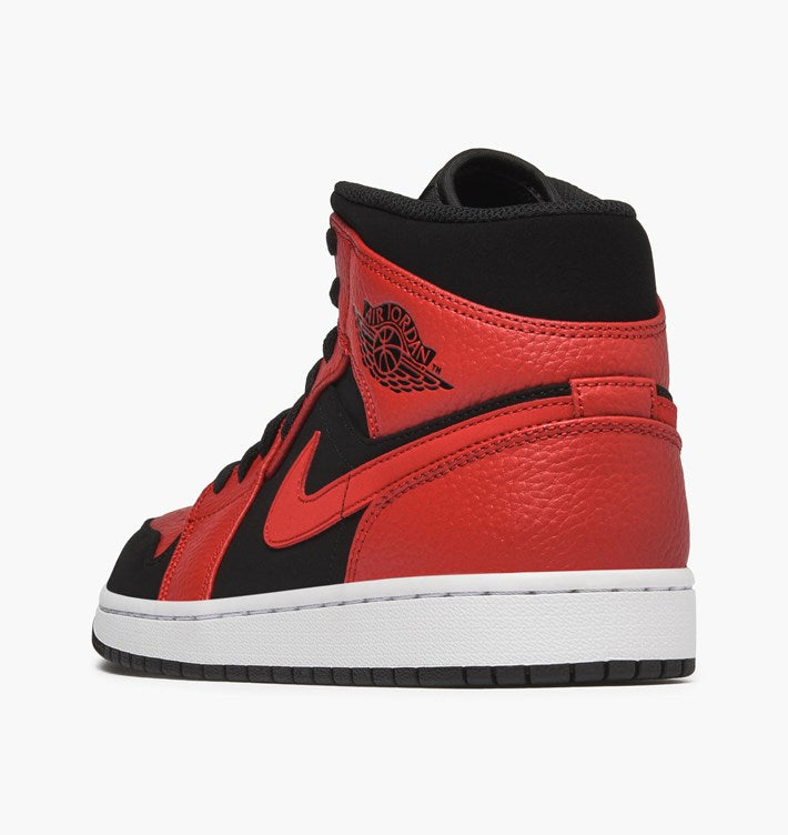 finest selection aa34c 1973f Nike Air Jordan 1 Mid BLACK GYM RED-WHITE (554724-054)
