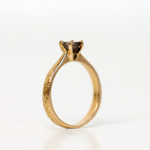 Princess cut cognac diamond in 18ct gold