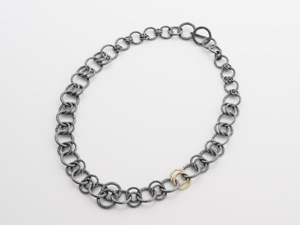 Oxidised Silver & Gold Necklace Single