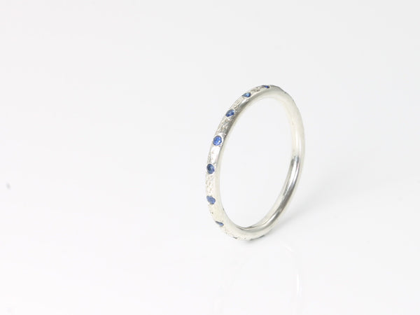 Top Set Dune Ring - Silver & Sapphire