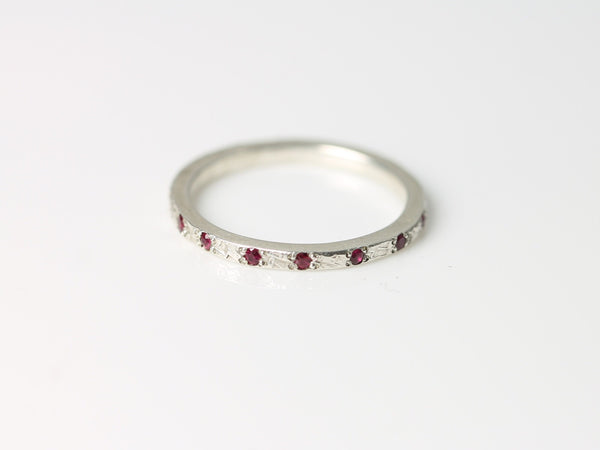 Top Set Dune Ring - Silver & Ruby