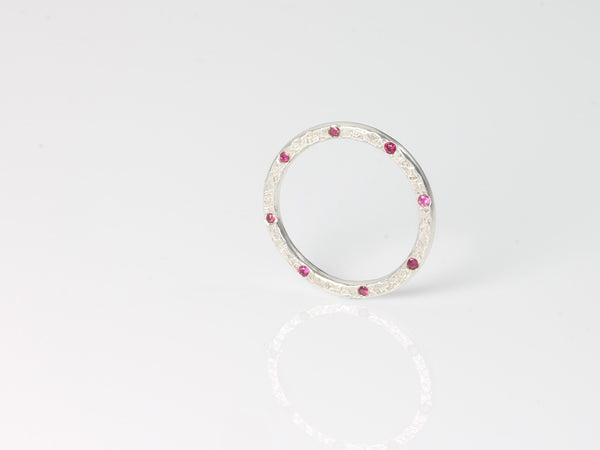 Edge Set Dune Ring Silver & Ruby