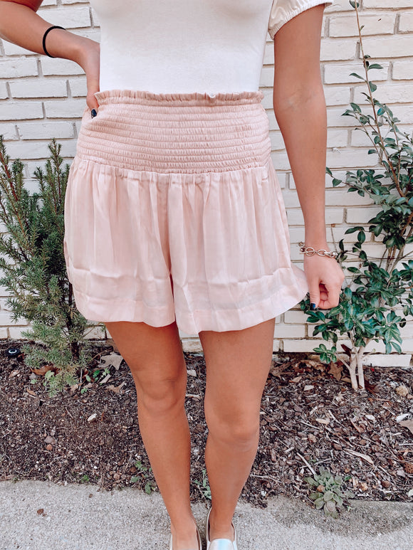 Blush Smocked Shorts