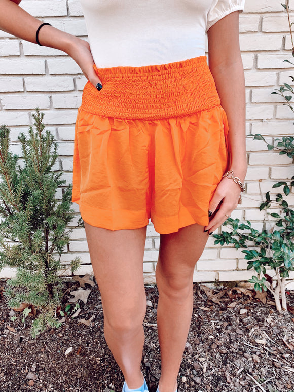 Orange Smocked Shorts