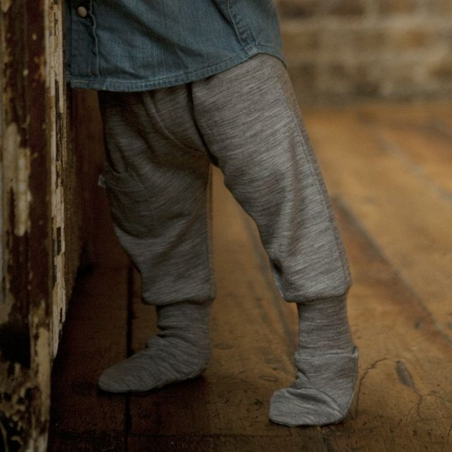 merino wool baby trousers with feet