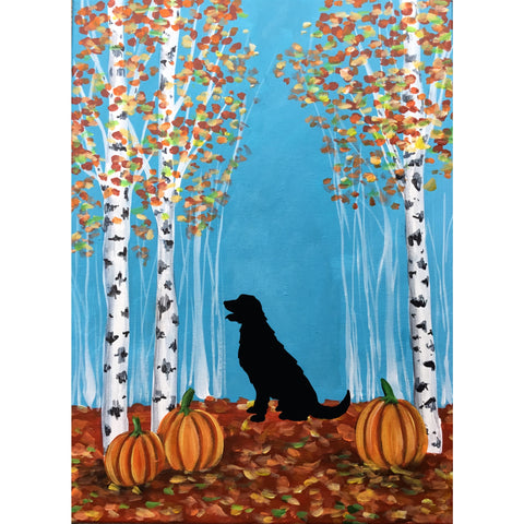 Your Pup Silhouette with Birch Trees
