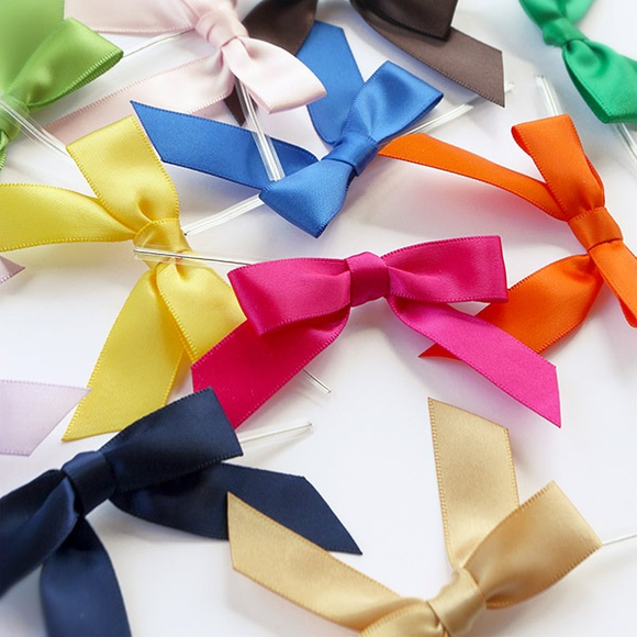 Satin Bows with Twist Ties