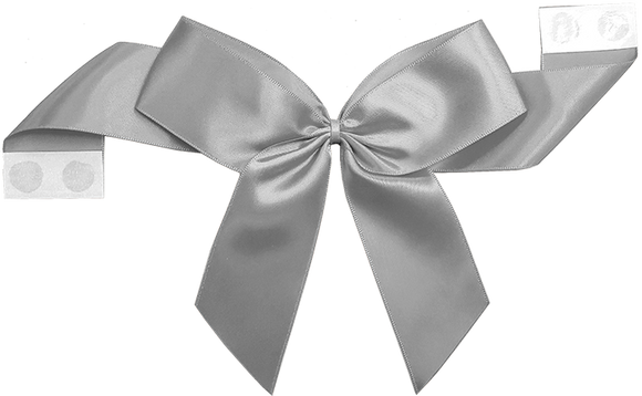 0012 Silver Pretie Bow with Glue Dot