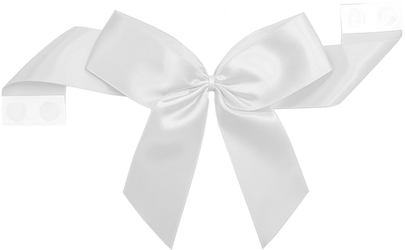 0029 White Pretie Bow with Glue Dot