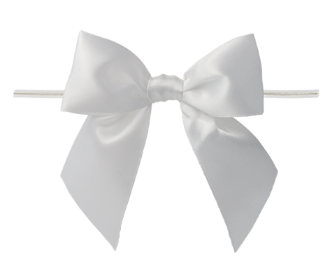 0029 White Twist Tie Bow