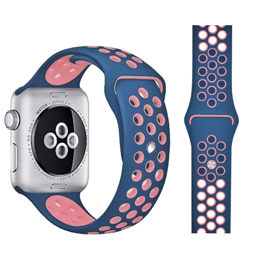 Correa Deportiva Transpirable de Silicona para Apple Watch - Azul Medianoche/Rosa