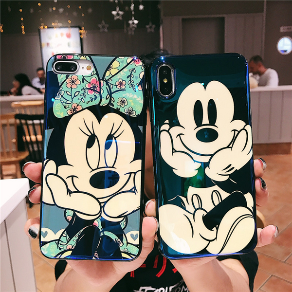 Funda Silicona Disney con Reflejo Azul (Mickey - Minnie) para iPhone