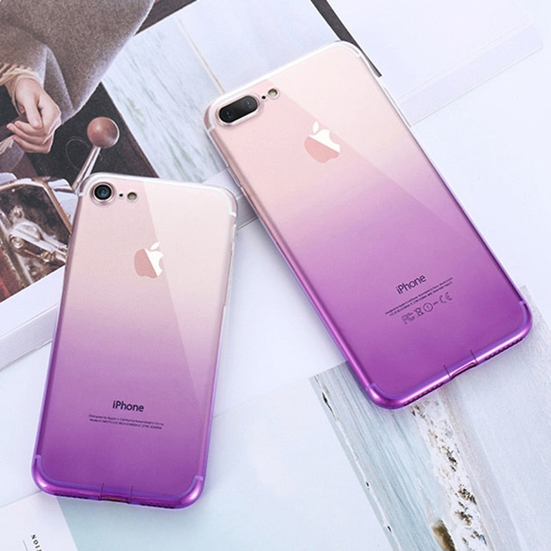 Funda Silicona con Degradado para iPhone - Morado