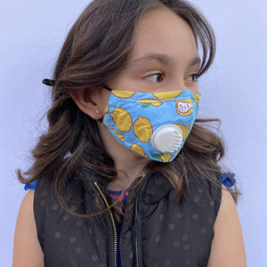 Premium Reusable Kids Cotton Face Mask | Blue Lemon| The Peoples Mask