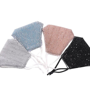 Holiday Face Masks The Peoples Mask Edmonton Collection Stylish Fancy Glam Face Masks with adjustable earloops in silver, light blue, blush pink and black.
