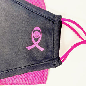 3 Layer Breast Cancer Pink Ribbon Face Mask Set
