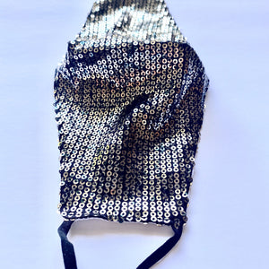 Sequin Gunmetal Silver Reusable Fashion Mask With Filter Pocket| The Peoples Mask