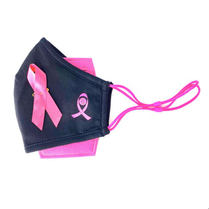 Breast cancer face mask pink ribbon on black mask in canada