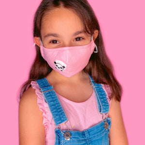 Kids Reusable Solid Color 3 Layer Cotton Face Mask With Filter Valve