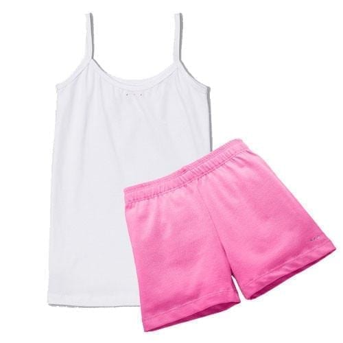 Girls Pink Playground Short and White Camisole Set - Cartwheel Ready!