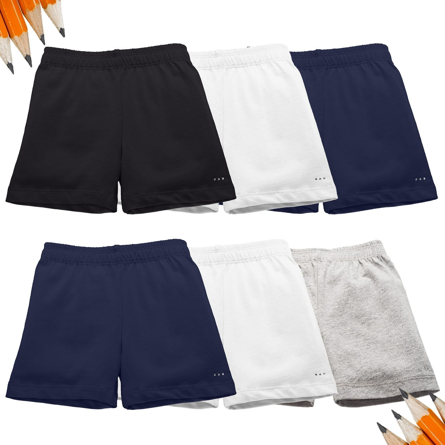 school essential shorts set with pencils