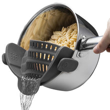 Load image into Gallery viewer, Universal Clip On Silicone Colander Pot Strainer Kitchen