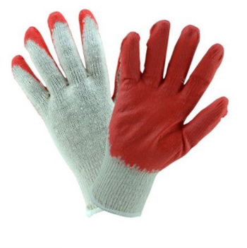 Natural Cotton/Polyester Red Palm Work Glove