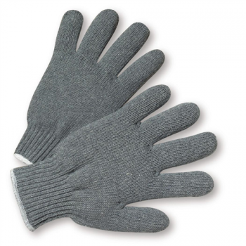 Heavy Weight String Knit Gray Poly/Cotton Gloves