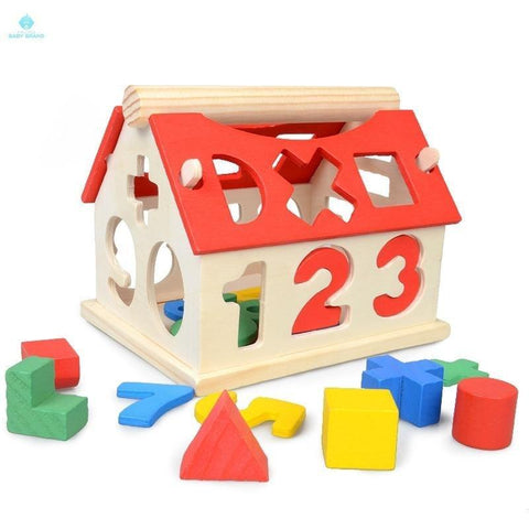 Wooden Learning House Shapes Numbers Puzzle Early Years Learning