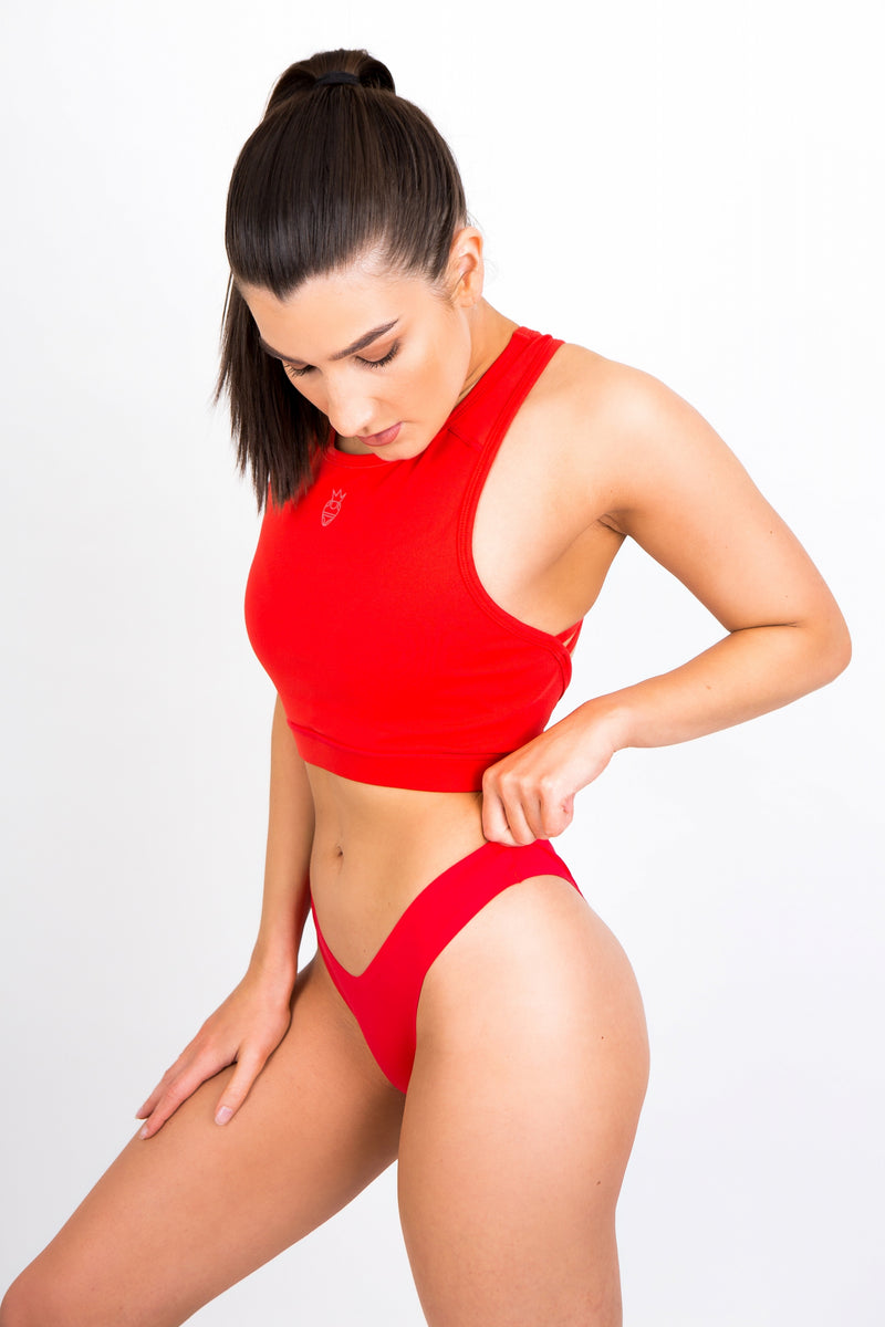 Strawberry Red Seamless Thong
