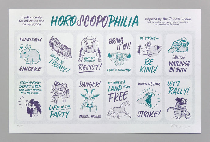 Horoscopophilia, a poster with 12 cards, with illustrations of animals like a rabbit (