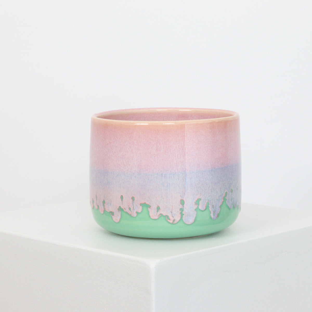 Pink Drip on Mint - Planter - 21063