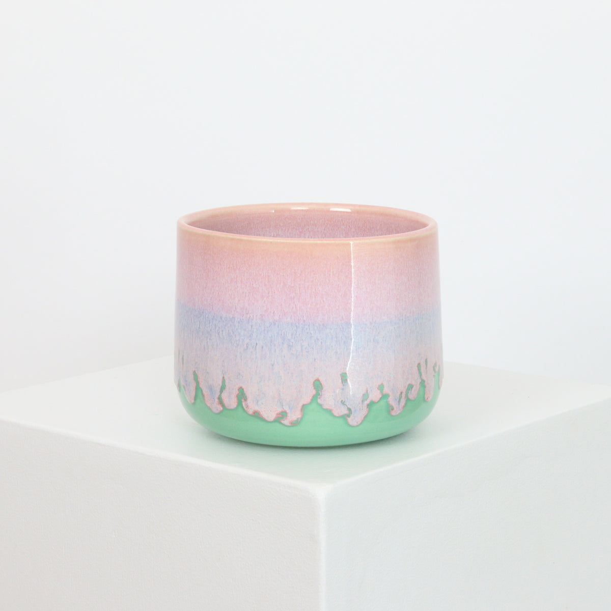 Pink Drip on Mint - Planter - 21071