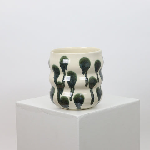 21092 - White with Metallic Accents - Squiggle Planter
