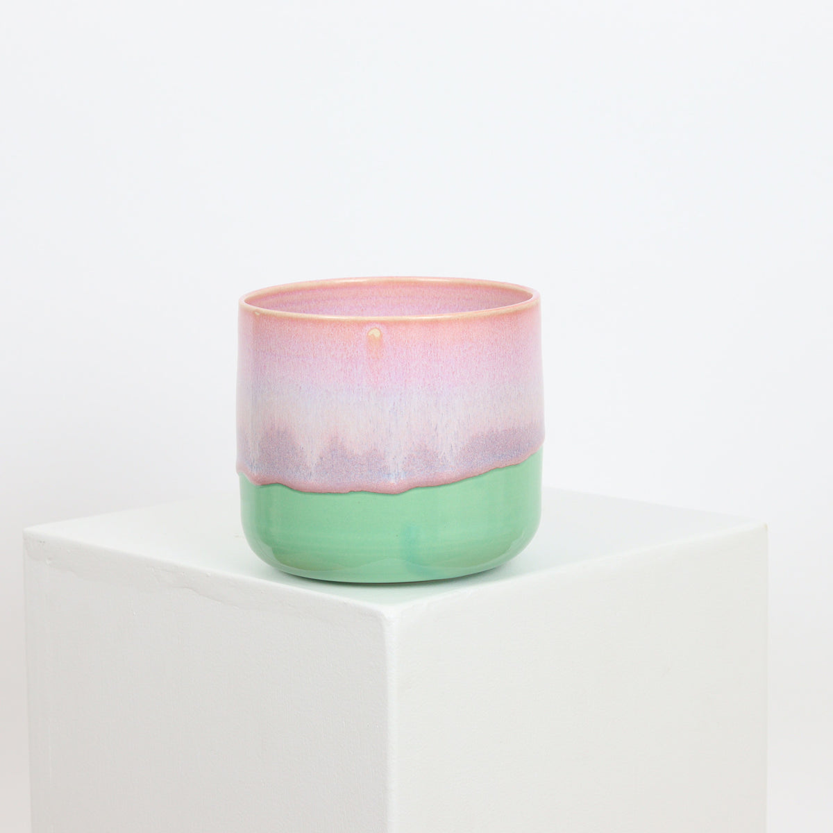 21113 - Mint with Pink Drip - Discounted - Rim Glaze Defect