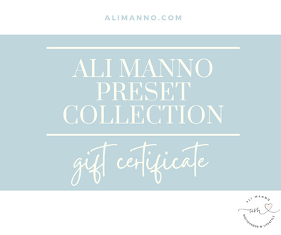 The Ali Manno Preset Collection Gift Certificate