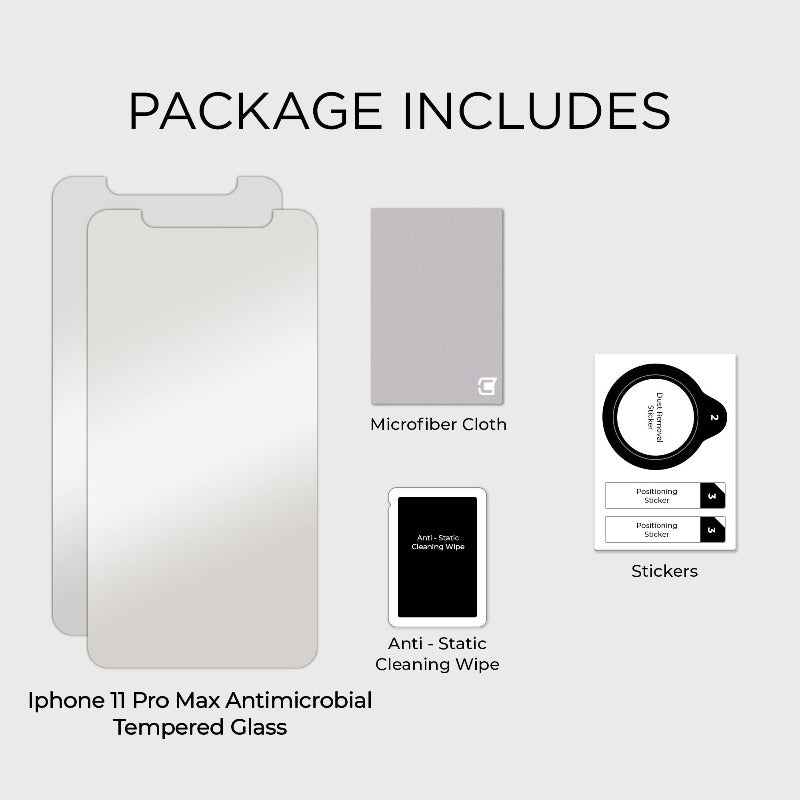 2x Antimicrobial Screen Protector - iPhone 11 Pro Max