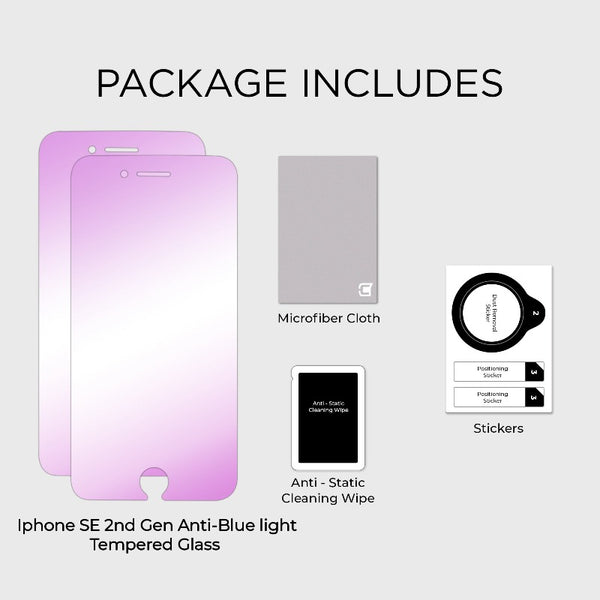 2x Anti Blue Light Screen Protector - iPhone SE 2nd Gen